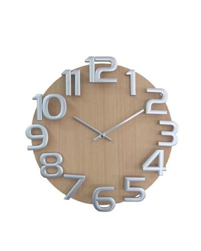 Verichron Dimensions Wall Clock, Natural/Silver