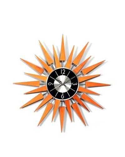 George Nelson Wooden Sunburst Clock, Caramel