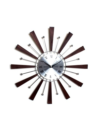 George Nelson Spindle Clock, Espresso/Silver