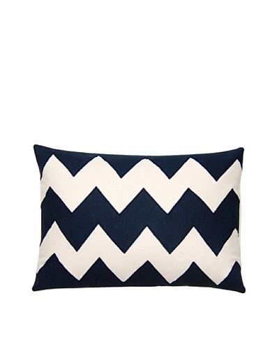 Square Feathers Zig Zag Ivory/Blue Boudoir Pillow