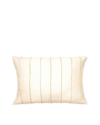 Square Feathers Ivory/Natural Thread Bands Boudoir Pillow