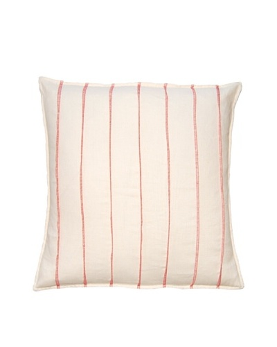 Square Feathers Ivory/Pink Thread Bands Square Pillow