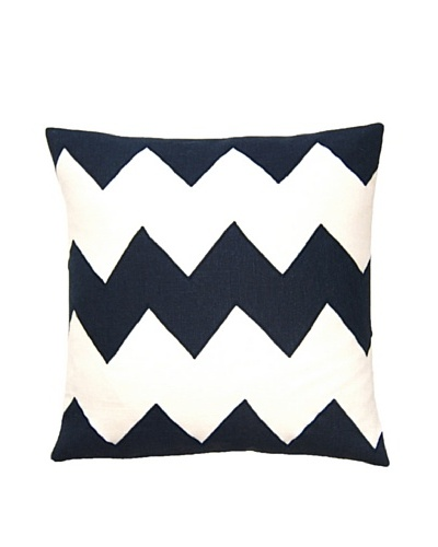 Square Feathers Zig Zag Ivory/Blue Square Pillow