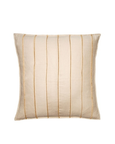 Square Feathers Natural/Gold Bands Square Pillow