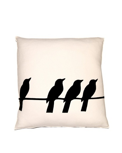 Square Feathers Birds on Wire 1 + 3 Square Pillow