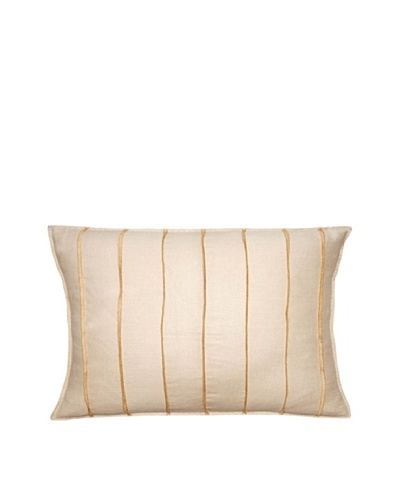 Square Feathers Natural/Gold Bands Boudoir Pillow