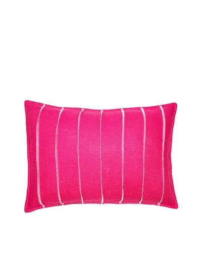 Square Feathers Pink Bands Boudoir Pillow