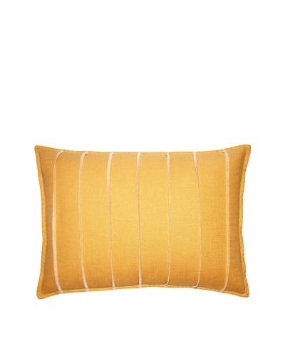 Square Feathers Yellow Bands Boudoir Pillow