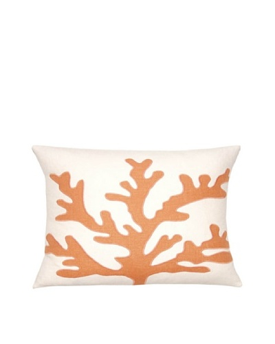 Square Feathers Sea Coral Ivory/Coral Boudoir Pillow