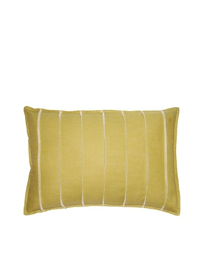Square Feathers Lime Bands Boudoir Pillow
