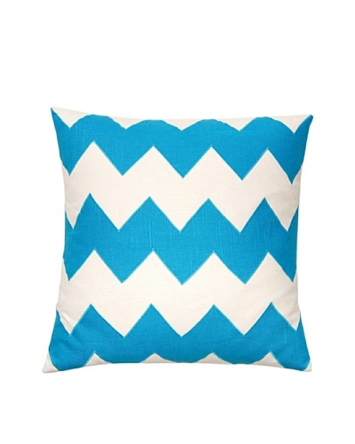 Square Feathers Zig Zag Ivory/Turquoise Square Pillow