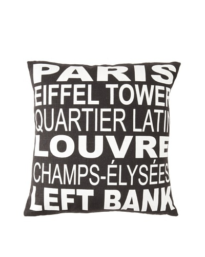 Square Feathers City Signs Paris Square Pillow