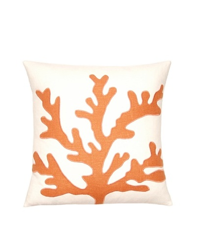 Square Feathers Sea Coral Ivory/Coral Square Pillow