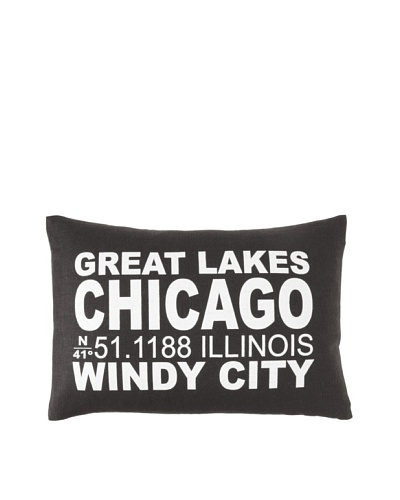 Square Feathers City Signs Chicago Boudoir Pillow