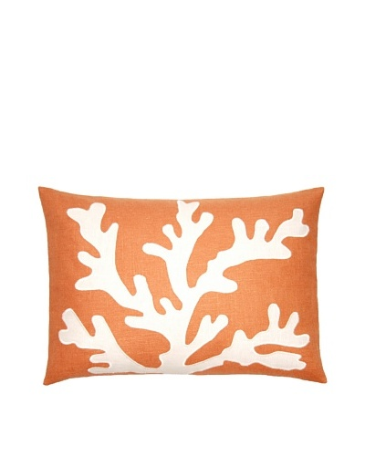 Square Feathers Sea Coral Coral/Ivory Boudoir Pillow