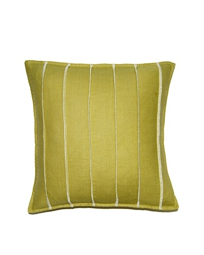 Square Feathers Lime Bands Square Pillow