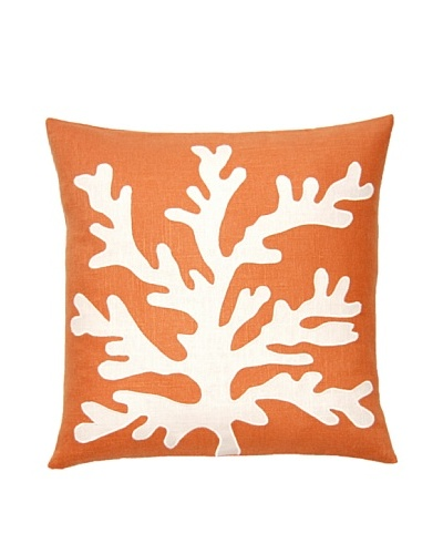 Square Feathers Sea Coral Coral/Ivory Square Pillow