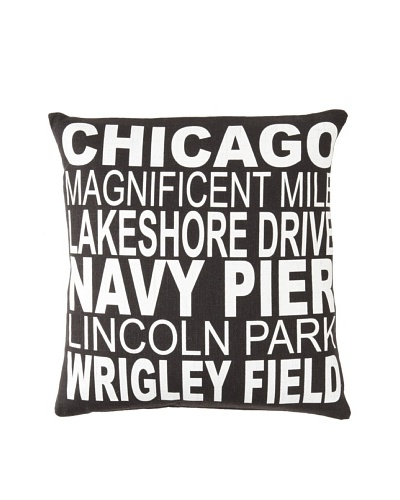 Square Feathers City Signs Chicago Square Pillow
