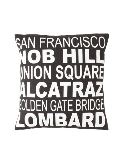 Square Feathers City Signs San Francisco Square Pillow