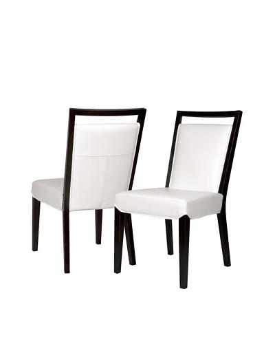 Star International Set of 2 Enzo Dining Chairs, White/Dark Walnut