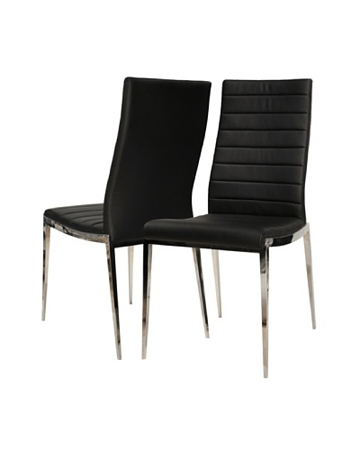 Star International Set of 2 Shine Dining Chairs, Black/Stainless Steel