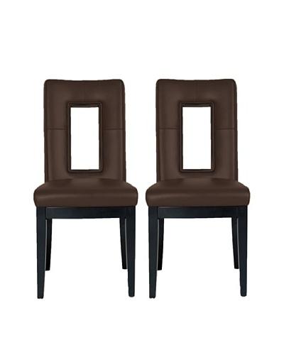 Star International Set of 2 Portico Dining Chairs, Dark Brown/Dark Walnut