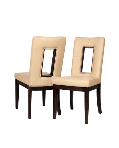 Star International Set of 2 Portico Dining Chairs, Taupe/Dark Walnut