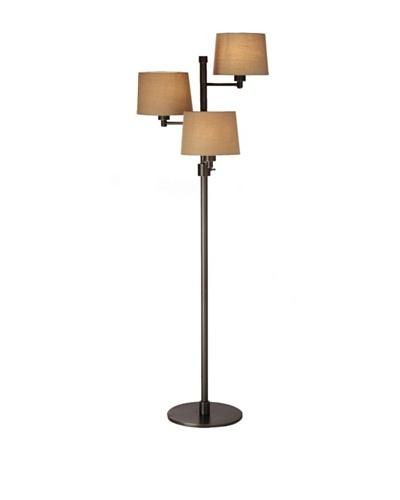 State Street Lighting Triple-Light Floor Lamp, Antiqued Brass