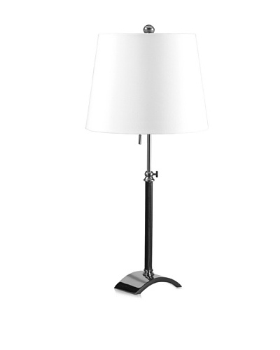 State Street Lighting Leather-Accented Table Lamp, Polished Nickel