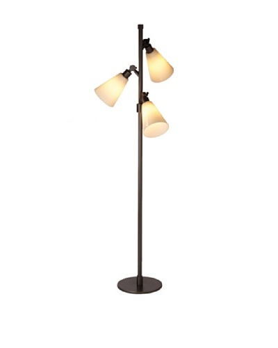 State Street Lighting Triple-Light Floor Lamp, Antiqued Brass