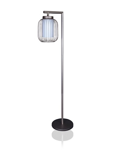State Street Lighting Floor Lamp with Wire Body Shade, Old Iron