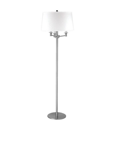 State Street Lighting Triple-Light Floor Lamp, Satin Nickel