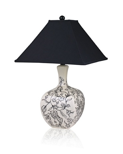State Street Lighting Porcelain Floral Stencil Table Lamp