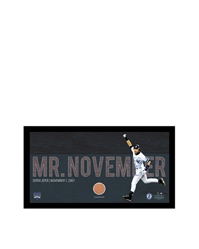 Steiner Sports Memorabilia Derek Jeter Moments: Framed Mr. November Mosaic Text Overlay with Game Di...