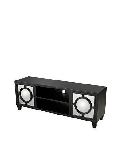 Sterling Home Media Console With Convex Mirror, Black