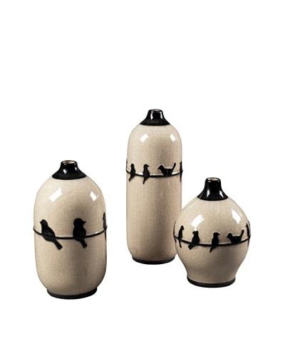 Sterling Home Set of 3 Birds on a Wire Ceramic Jars, Cream /Black