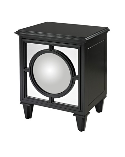 Sterling Home Cabinet With Covex Mirror, Black