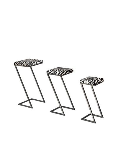 Sterling Home Set of 3 Zebra Print Stacking Tables, Black/White