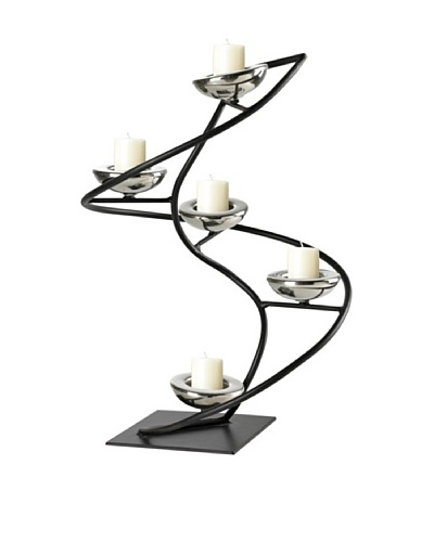 Sterling Home Iron Spiral Candle Holder, Black/Chrome