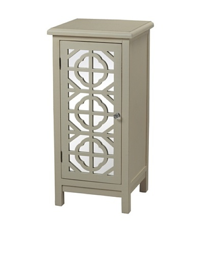 Sterling Home Vivienne Single-Door Mirrored Cabinet, Off-White