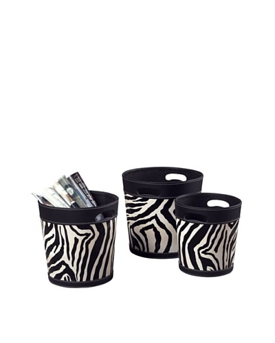 Sterling Home Set of 3 Zebra Patterned Magazine Holders, Black/White