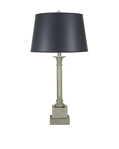 Stiffel Lighting Silver Leaf Column Table Lamp