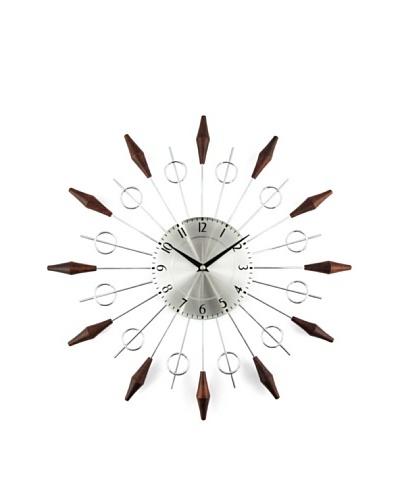 Stilnovo The Noyes Mid Century Clock, Wood/Silver