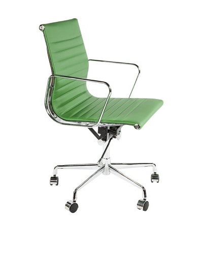 Stilnovo Mid-Century Pu Executive Office Chair, Green/Chrome