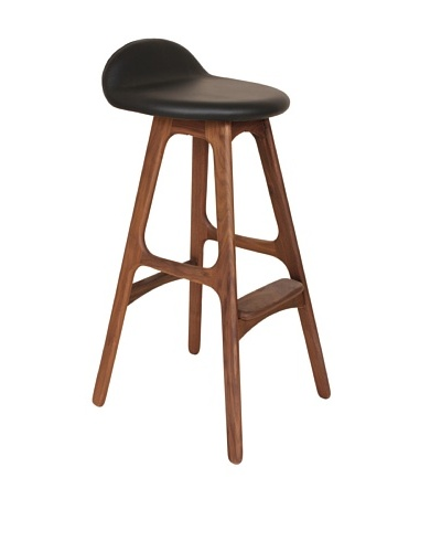Stilnovo Erik Buck Bar Stool, Black/Walnut