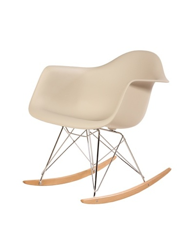 Stilnovo Adult Mid-Century Rocking Chair With Arms & Ash Wood Sleighs, Beige