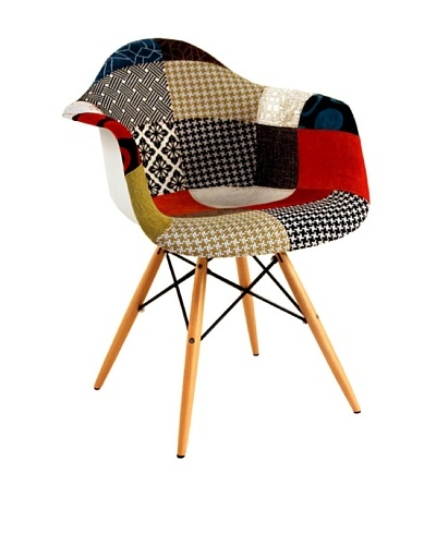 Stilnovo Mid Century Arm Chair With Fabric Covered Seat And Wooden Dowel Legs, Patchwork/Wood