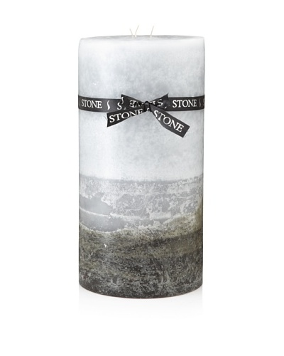 Stone Candles 12 Triple Layer Color Pillar Candle with Ribbon, Grey