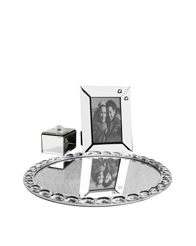 Allure Vanessa Clear Jewel Accent Mirror Vanity Set, Clear