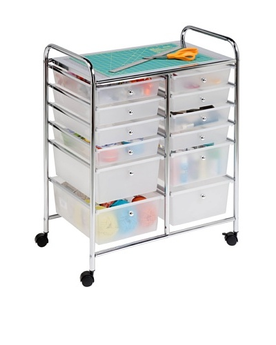 Honey-Can-Do 12 Drawer Chrome Studio Organizer Cart